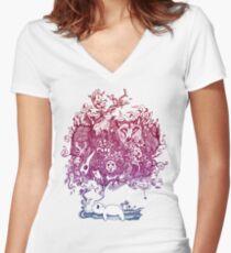 Dreaming Bear  Women's Fitted V-Neck T-Shirt
