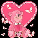 Teddy and Butterfly Hearts by LoneAngel