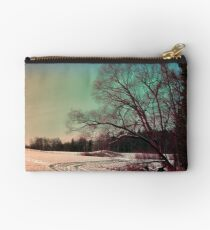 A snowy trail and some trees Studio Pouch
