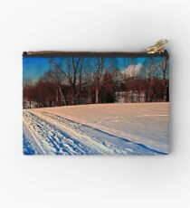 Traces on a winter hiking trail Studio Pouch