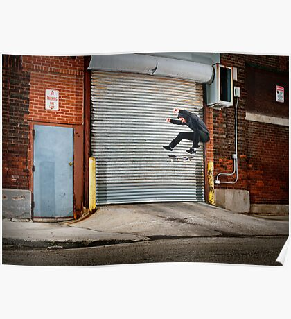 Marty Murawski - Frontside Flip - Chicago - Photo Bart Jones Poster