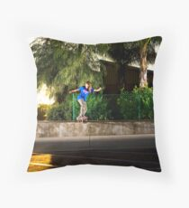 Neen Williams - Backside Tailslide - Santa Ana, CA - Photo Bart Jones Throw Pillow