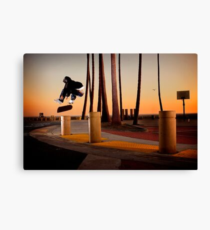Pat Pasquale - Frontside Heelflip - Huntington Beach, CA - Photo Bart Jones Canvas Print