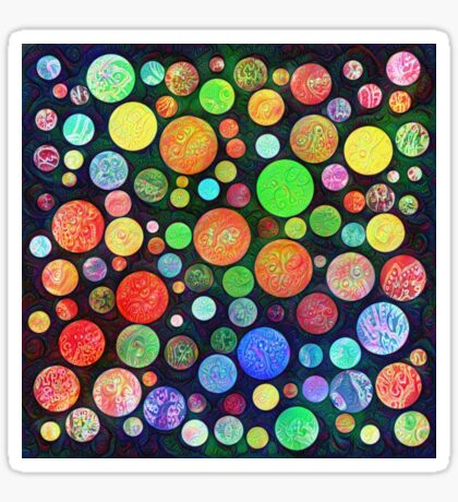 #DeepDream Color Squares Circles Visual Areas 5x5K v1448464170 Sticker