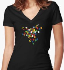 CUBED Women's Fitted V-Neck T-Shirt