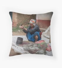 Sifting Mustard Seeds Throw Pillow