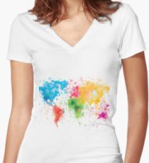 world map painting Women's Fitted V-Neck T-Shirt