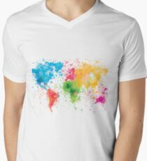 world map painting Men's V-Neck T-Shirt