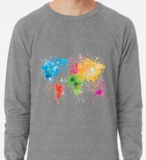 world map painting Lightweight Sweatshirt