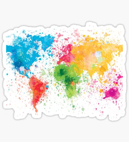 world map painting Sticker