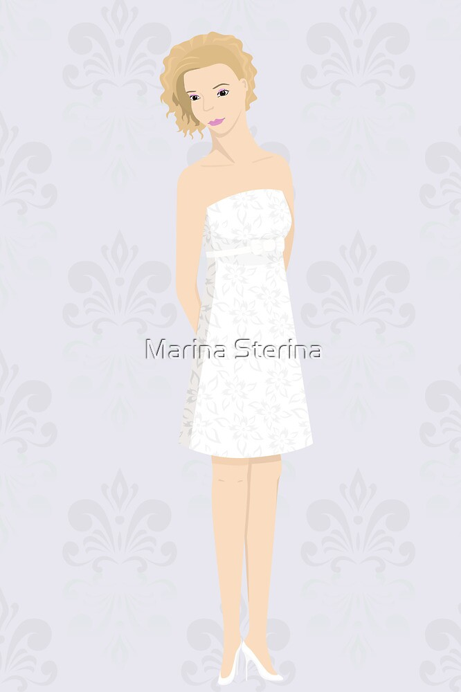 bride in mini dress by Marina Sterina