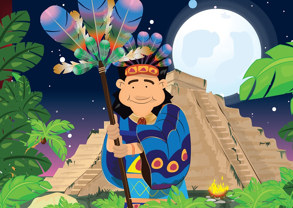 Aztec Pyramid People by vectorwebstore