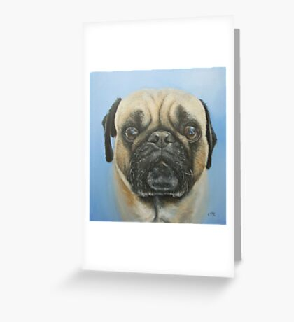 Pug on blue background Greeting Card