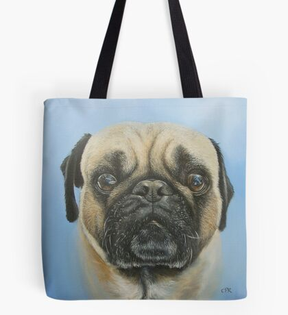 Pug on blue background Tote Bag