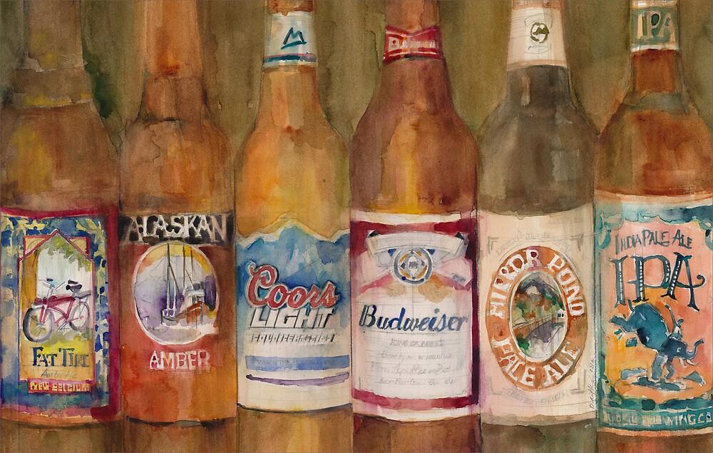 Fat Tire, Alaskan, Coors Light, Budweiser, Mirror Pond, IPA by Dorrie  Rifkin