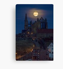 Super Moon Rise over Whitby Abbey North Yorkshire Dracula  Canvas Print