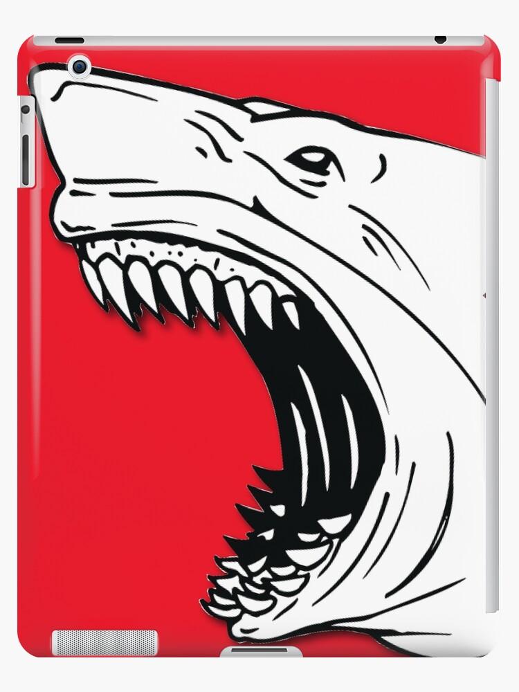'Angry Shark Art Logo Design' iPad Case/Skin by sharkruleart