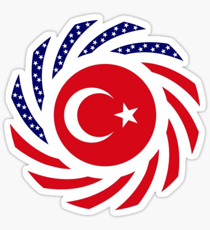 Turkish American Multinational Patriot Flag Series Glossy Sticker