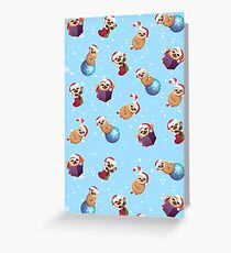 Christmas Tiny Little Baby Sloths with Santa Hats Greeting Card