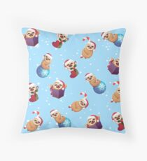 Christmas Tiny Little Baby Sloths with Santa Hats Throw Pillow