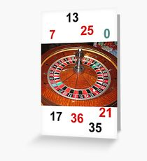 Roulette casino wheel chips and numbers Greeting Card