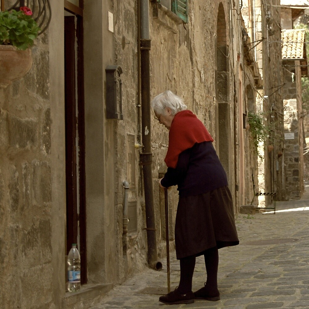 The Red Sweater in Sepia Tones-Bolsena, Italy by Deborah Downes