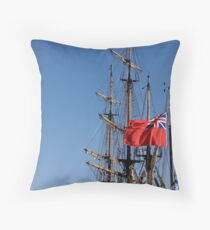 British ensign flag on ship, Brest 2008 Maritime Festival, Brittany, France Throw Pillow
