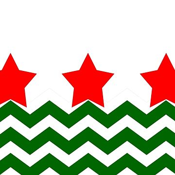 CHRISTMAS CHEVRON WITH RED STARS WHITE BACK GROUND AND GREEN CHEVRON EAVES by ozcushionstoo