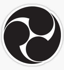 Tomoe, Japan, Japaner, Shinto Symbol, Plain & Simple, Schwarz auf Weiß Sticker
