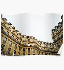 typical building hausmannian style in Paris, France  Poster
