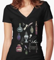 Witches' Stash Women's Fitted V-Neck T-Shirt
