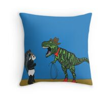 Dressing up with Panda & T-Rex Throw Pillow