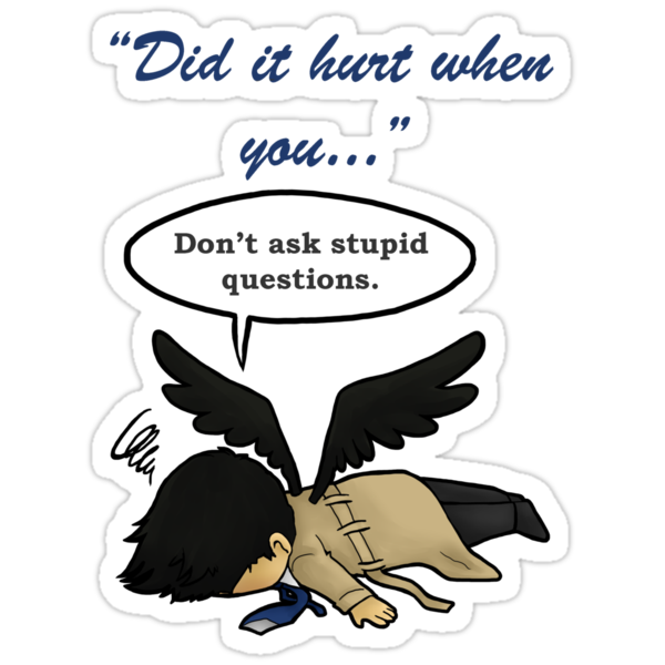 Quot Did It Hurt When You Fell From Heaven Quot Stickers By