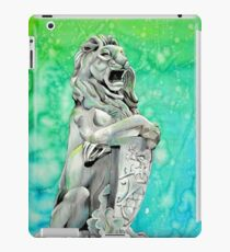 Traditional Watercolor and Ink Lion Statue  iPad Case/Skin