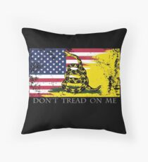American Gadsden Flag Worn Throw Pillow