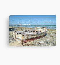 Lonely Boat dreaming of the Sea in Montagu Beach - Nassau, The Bahamas Canvas Print