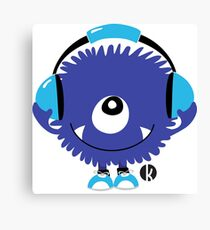 Cute Sound Monster with Headphone Canvas Print