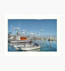 Marina behind Pop's Deck in Nassau, The Bahamas Art Print