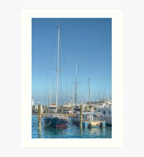 Boat docked at the marina behind Pop's Deck in Nassau, The Bahamas Art Print