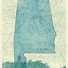 Alabama Map Blue Vintage by HubertRoguski