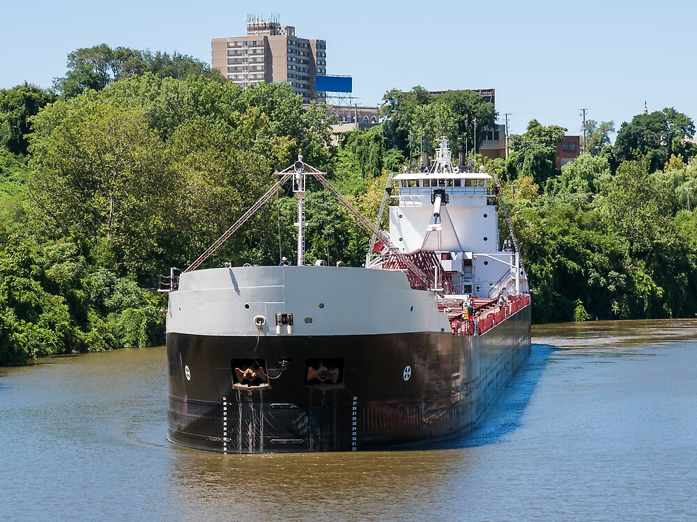 Freighter On The Cuyahoga by StonePhotos