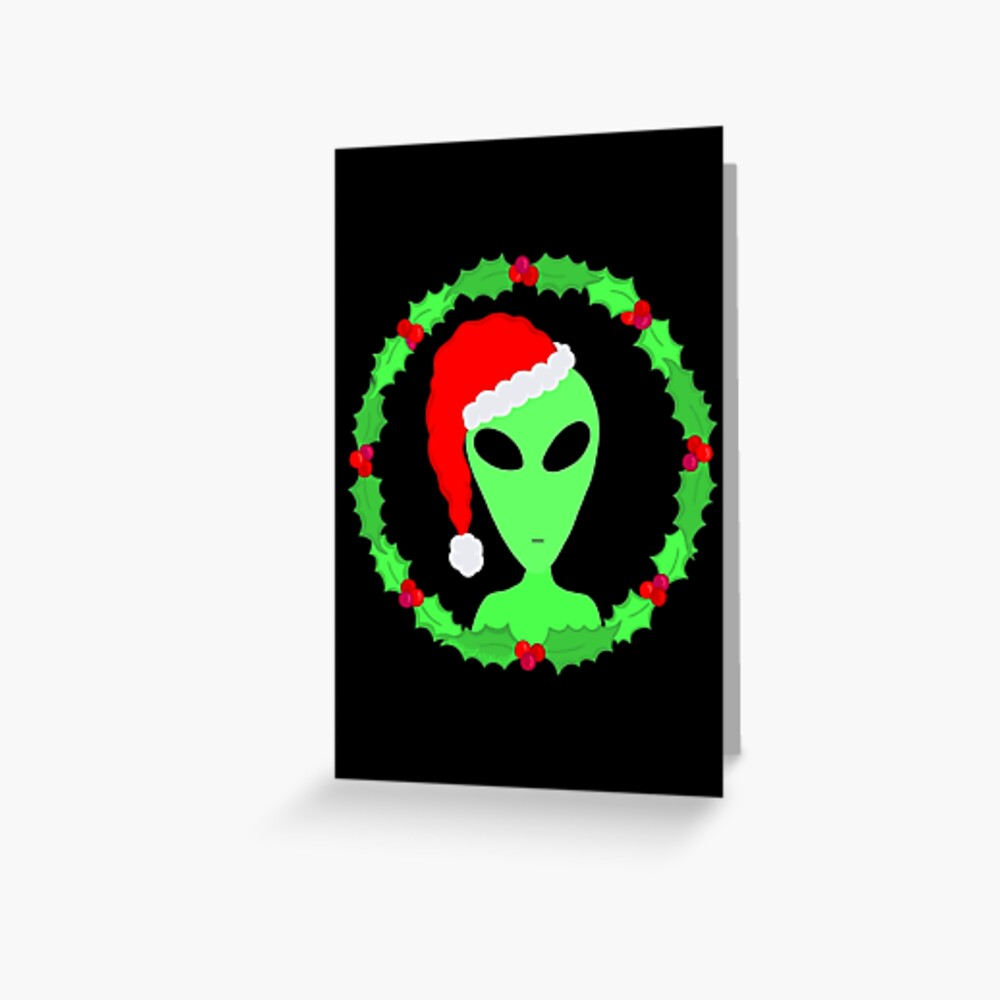 Alien In A Santa Hat Funny Christmas Greeting Card