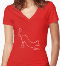 Meow puddy tat - white Women's Fitted V-Neck T-Shirt