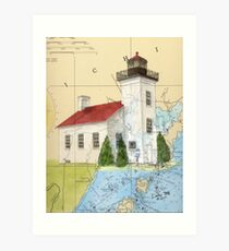 Sand Pt Escanaba Lighthouse MI Chart Cathy Peek Art Print