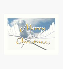 Merry Christmas from a Snowy Countryside Art Print