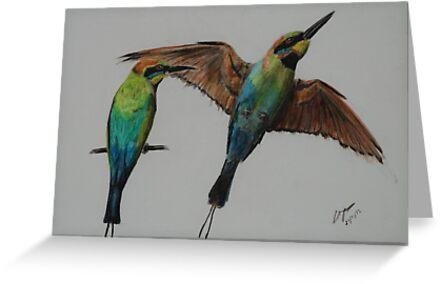 Rainbow Bee Eater - inktense by gogston