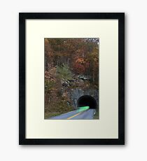 bicycling through tunnel 4 Framed Print