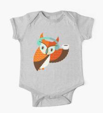 Winter Owl Baby Body Kurzarm