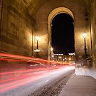 speed lights of cars passing by in Paris France  by hpostant