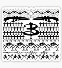 Buffy Ugly Holiday Sweater Pattern Sticker